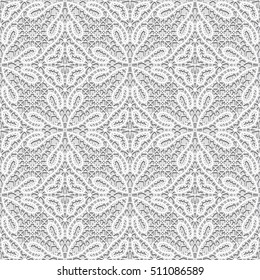 Vintage grey background, handmade tatting lace texture, tulle fabric, crochet ornament, seamless vector pattern