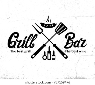 Vintage Grill Bar logo design, grange print stamp, creative grill bar typography emblem, Vector illustration