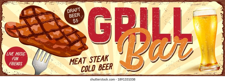 Vintage Grill Bar metal sign.Retro poster 1950s style.
