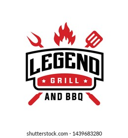 Vintage Grill Barbeque Logo Design Vector Inspiration for restaurant