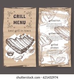 Vintage grill restaurant menu template with hand drawn sketch of grilled fish, ribs, chicken legs and wings. Placed on cardboard background. Great for grill cafes and restaurants.