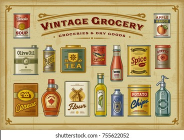Vintage Grocery Set. EPS10 vector illustration in retro woodcut style.