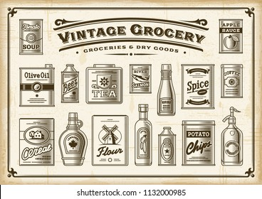 Vintage Grocery Set. One Color. EPS10 vector illustration in retro woodcut style.