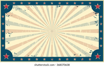 Vintage, grunge background, template for circus funfair carnival poster or ticket. Vector illustration.