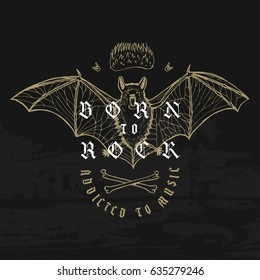 vintage grunge bat rock music print with fire and bones