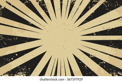 Vintage grunge black radial lines background Rectangle fight stamp for card Retro graphic vector texture