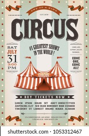 Vintage Grunge Circus Poster/ Illustration of an old-fashioned vintage circus poster, with big top, design elements and grunge textured background