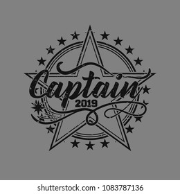 Vintage grunge logo with solid background. Vector illustration design for t-shirt and printing.