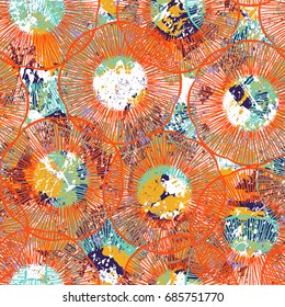 Vintage grunge pattern in bright colors on colorful painted background. Bold ethnic print with lines, circles and abstract shapes on paint splatters and splashes. Hand drawn texture with tribal motifs