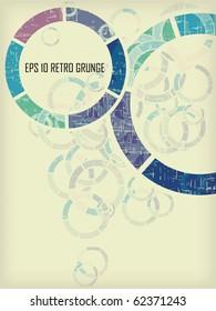 Vintage grunge round background eps 10 textured in violet, blue, green design
