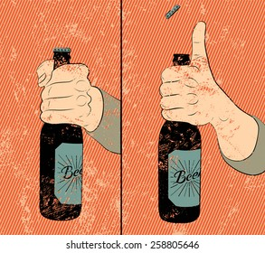 Vintage grunge style beer poster. Humorous poster instruction for opening the a bottle of beer.  Hand hold a bottle of beer. Vector illustration.