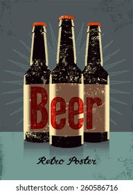 Vintage grunge style poster with a beer bottles. Retro vector illustration.