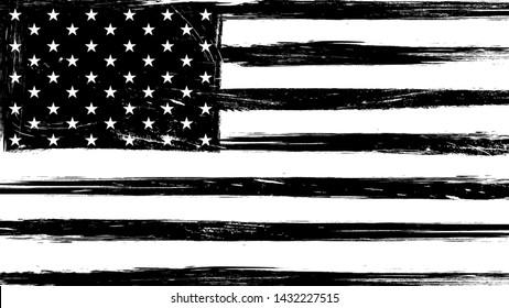 Vintage grunge USA black and white flag.