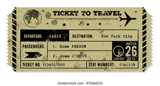 Vintage grungy airplane ticket. Travel concept.