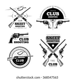 Vintage gun club labels, logos, emblems set. Badge and gun, weapon rifle, vector illustration