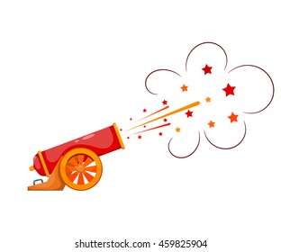 Vintage gun. Color image of medieval cannon firing on a white background. Cartoon style. 
