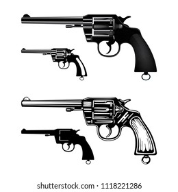 Vintage gun. Old revolver. Six shooter pistol. Gun illustrations set in different drawing styles: hand drawn, flat, realistic, silhouette. Gun tattoo, logo and illustrations set.