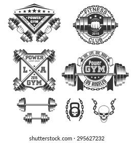 Vintage gym emblems and labels