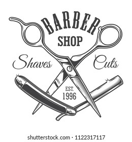 Vintage hairdresser salon label with barber scissors and razor blade isolated vector illustration