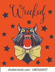 Vintage Halloween card with witches black cat. Card with Lettering. Vector illustration. Design for print, animal mascot, birthday surprise party etc.