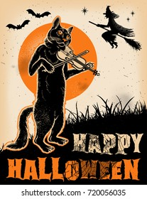 Vintage Halloween Cat Playing Violin Poster. Vector Illustration.