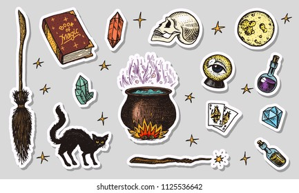 Vintage Halloween elements stickers. Magic ball, witch with book of spells, cursed black cat, hag or hex, potion and cauldron, skull and fortune-telling cards. Hand drawn engraved sketch.