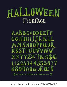 Vintage Halloween Original Typeface. Retro Creepy Style Halloween Font. Vector Illustration. Hand Drawn Halloween Alphabet.