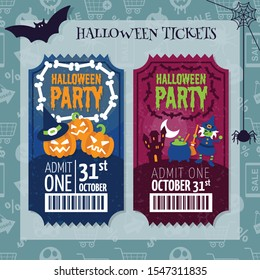 Vintage Halloween party invitation ticket pass style card vector template. 3 Pumpkins, Witch and cauldron.