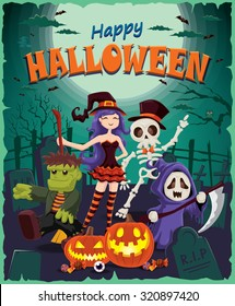 Vintage Halloween poster design with reaper, skeleton, witch