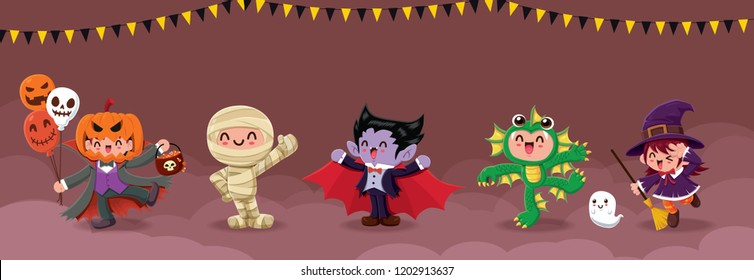 Vintage Halloween poster design with vector jack o lantern, mummy, vampire, sea creature, ghost, witch, monster character.