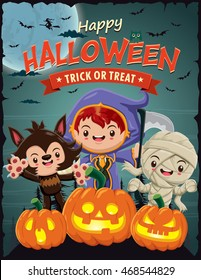 Vintage Halloween poster design with vector reaper, wolf man, mummy character.