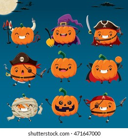 Vintage Halloween poster design with vector witch, vampire, mummy, pirate, demon character.