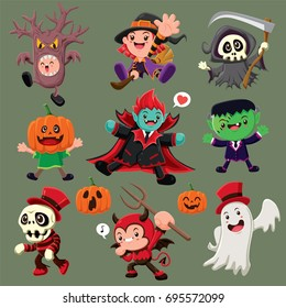 Vintage Halloween poster design with vector demon, witch, reaper, vampire, ghost, monster character.