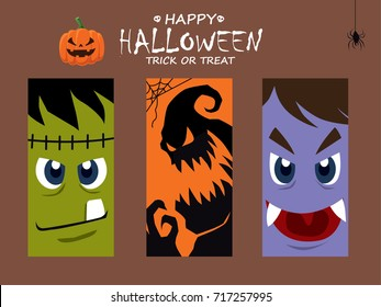 Vintage Halloween poster design with vector monster, vampire, ghost character.