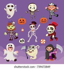 Vintage Halloween poster design with vector skeleton characters.