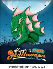 Vintage Halloween poster set design with swamp creature