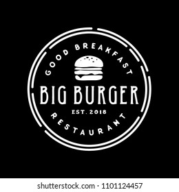 Vintage Ham Beef Patty Burger for Fast Food Restaurant Retro logo design