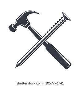 Vintage hammer and nail Icon, joiner's tools, simple shape, for graphic design of logo, emblem, symbol, sign, badge, label,stamp, isolated on white background. Hand drawn, vector illustration.