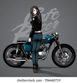 vintage hand drawing girl pose on a motorcycle