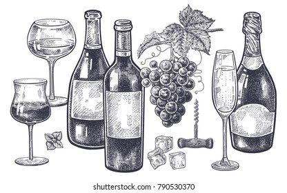 Vintage hand drawing on subject of alcohol. Bottles with wine and champagne, grapes, wine glasses with drink, ice slices and corkscrew. Isolated black image on white background. Vector illustration.