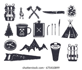 Vintage hand drawn adventure hiking, camping shapes of backpack, saw, mountain, matches, tree, knife, thermo cup and others. Retro monochrome design. Can be used for t shirts, prints. Stock vector.