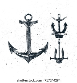 Vintage hand drawn anchors collection. Ink illustration for flayer, poster, logo or t-shirt apparel clothing print. Vector illustration on texture background.