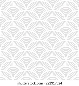 Vintage hand drawn art deco pattern with scale motifs. Vector seamless background in 1930s and 1920s fashion style