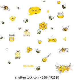 Vintage Hand Drawn art stock vector illustration bee