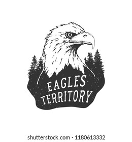 Vintage hand drawn badge.The eagle territory .Vector illustration