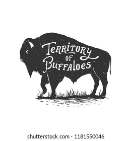 Vintage hand drawn badge.Territory of buffaloes .Vector illustration