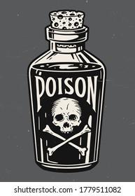 Vintage hand drawn bottle of poison vector illustration.