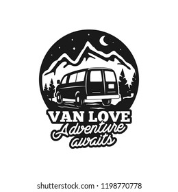 Vintage hand drawn camp logo badge. Van love - adenture awaits quote. Happy camper in mountains concept. Perfect for T-Shirt, mug, sticker. Stock vector emblem isolated on white background.