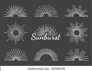 Vintage hand drawn circle and half-circle sunbursts set on the chalkboard. Vector eps10.