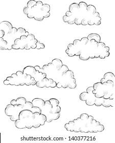 vintage hand drawn clouds eps8 vector illustration